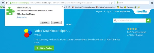 Top 3 browser add ons or extensions to download videos online downloadhelper firefox addon ccuart Images