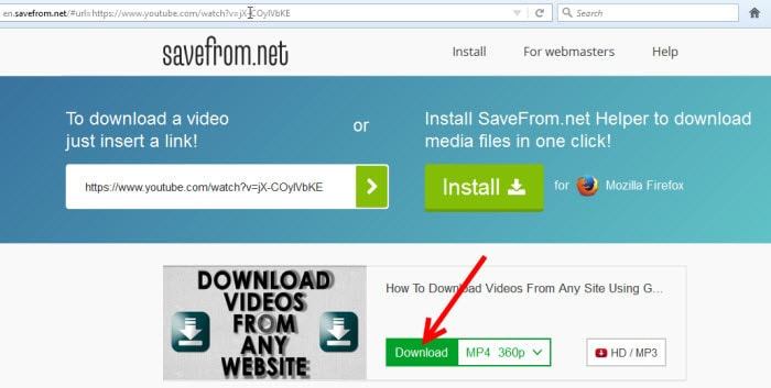 download video with savefrom
