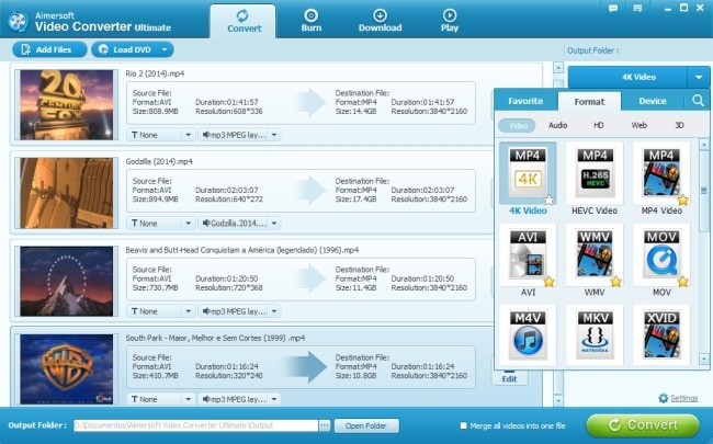 Aimersoft Video Converter Ultimate interface