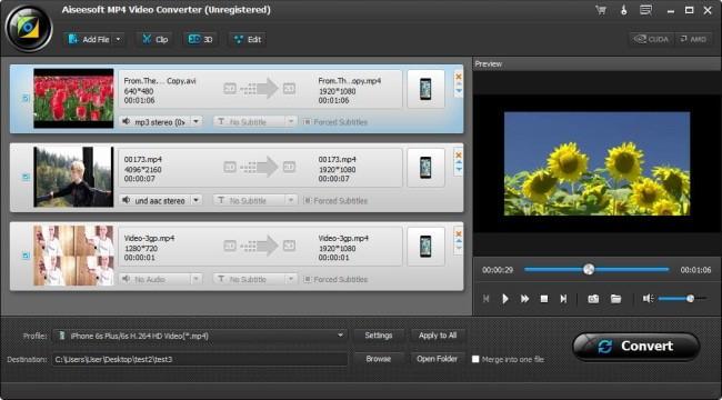 Aiseesoft MP4 video converter interface