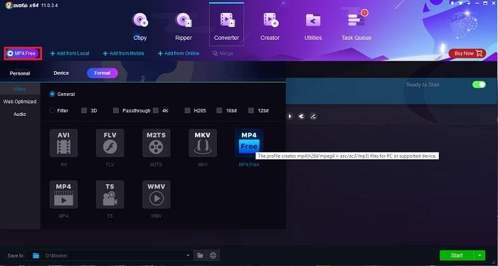 DVDFab video converter interface