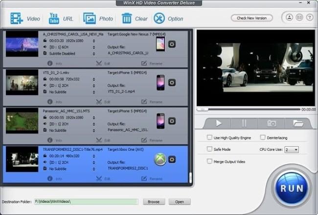 WinX HD Video Converter Deluxe interface