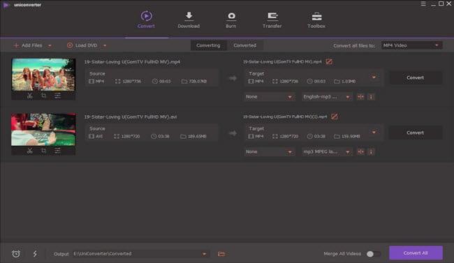 Wondershare Uniconverter interface