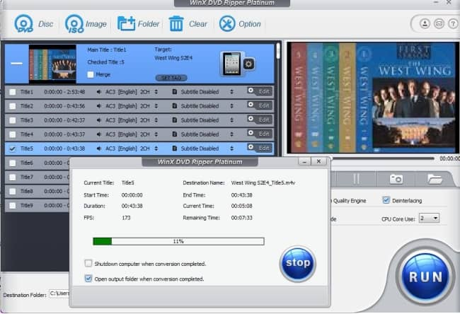 WinX DVD ripper platinum interface