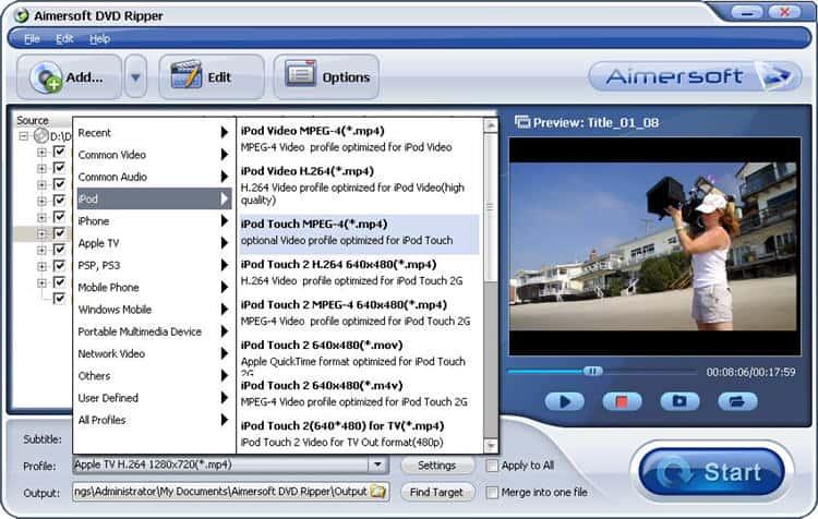 aimersoft dvd ripper interface