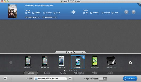 Aimersoft dvd ripper for mac interface