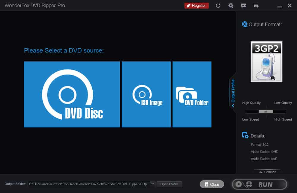Wonderfox dvd ripper pro interface