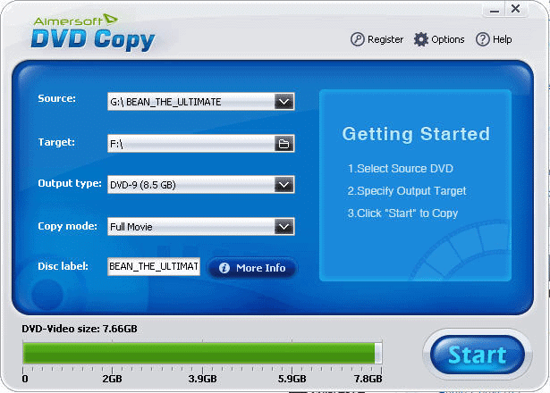 Aimersoft DVD Copy interface