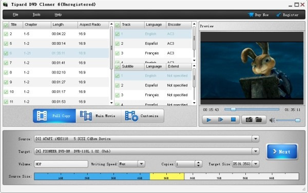 Tipard DVD Cloner interface
