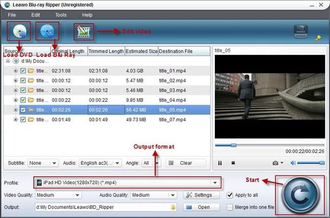 Leawo blu-ray ripper interface