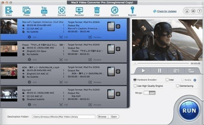 MacX Video Converter Pro interface
