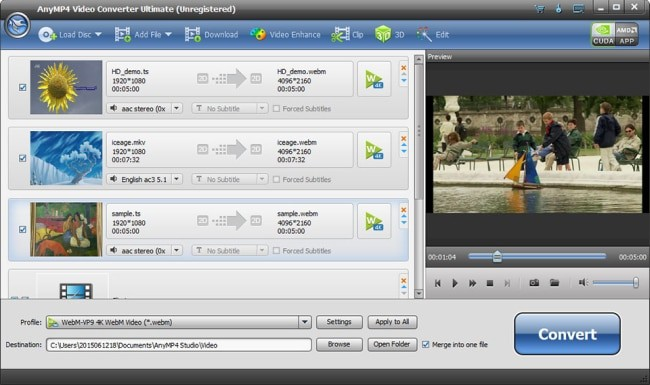 AnyMP$ video converter ultimate interface