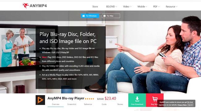 AnyMP4 Blu-ray Player screen