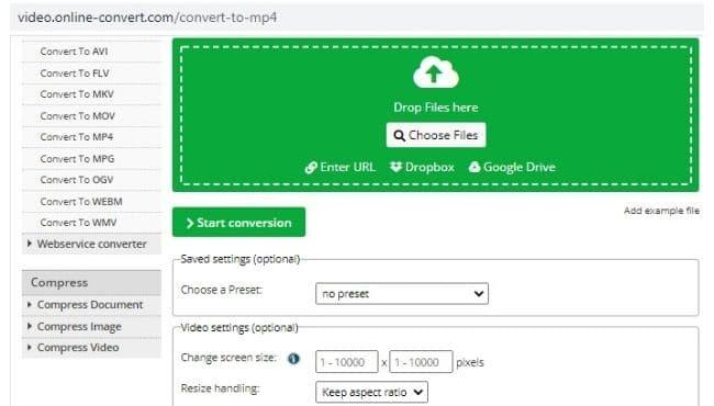 Online video converter screen