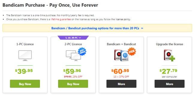 Bandicam pricing