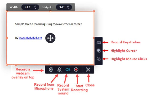 Movavi captured screen and functions