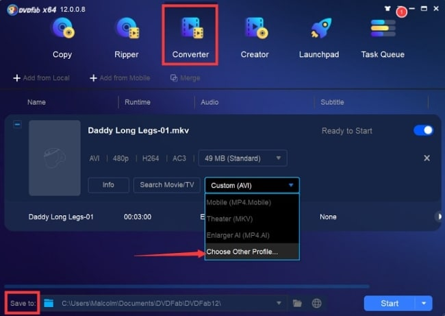 how to convert mkv to mp4 with DVDFab video converter 2