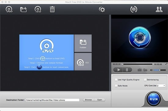 MacX free dvd to iMovie converter screen