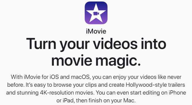 iMovie screen